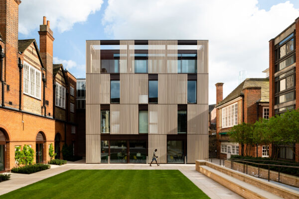 Design Engine Hubert Perrodo Building, St Peter's College entrance facade daytime. Jim Stephenson Copyright