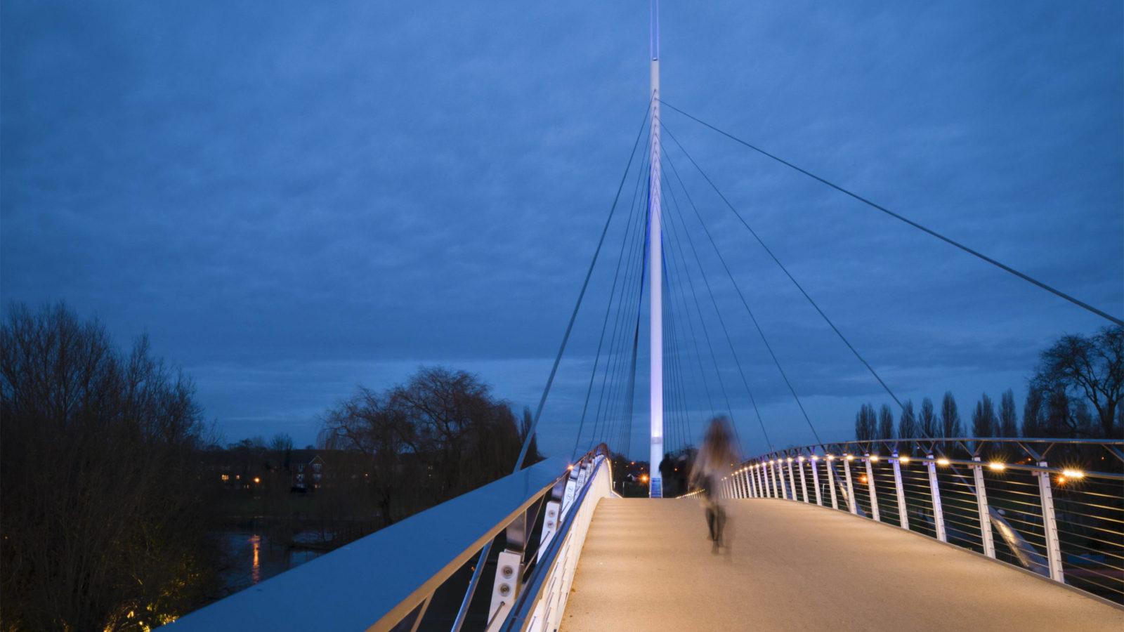 bridge at night lit up