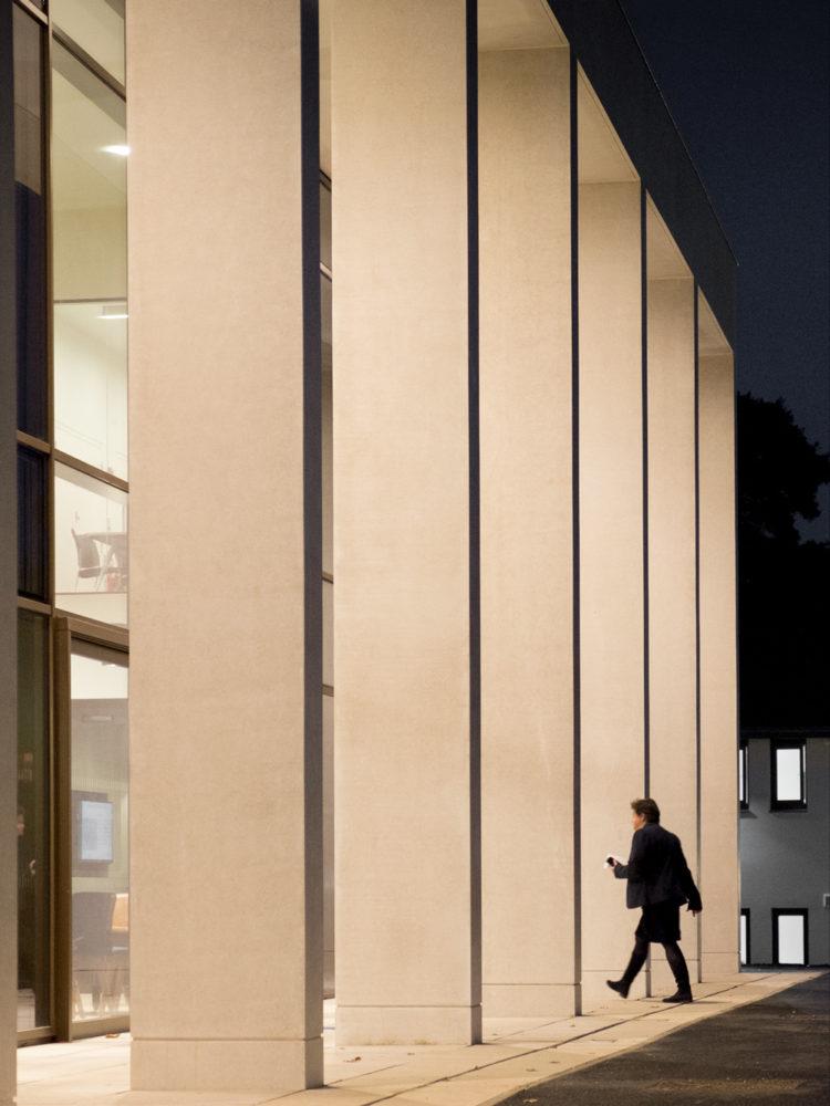 Opposite entrance column shot evening