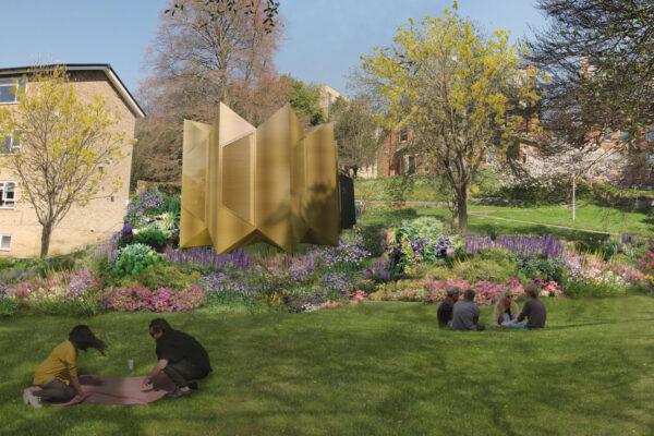 Garden view of external Listening Space Render